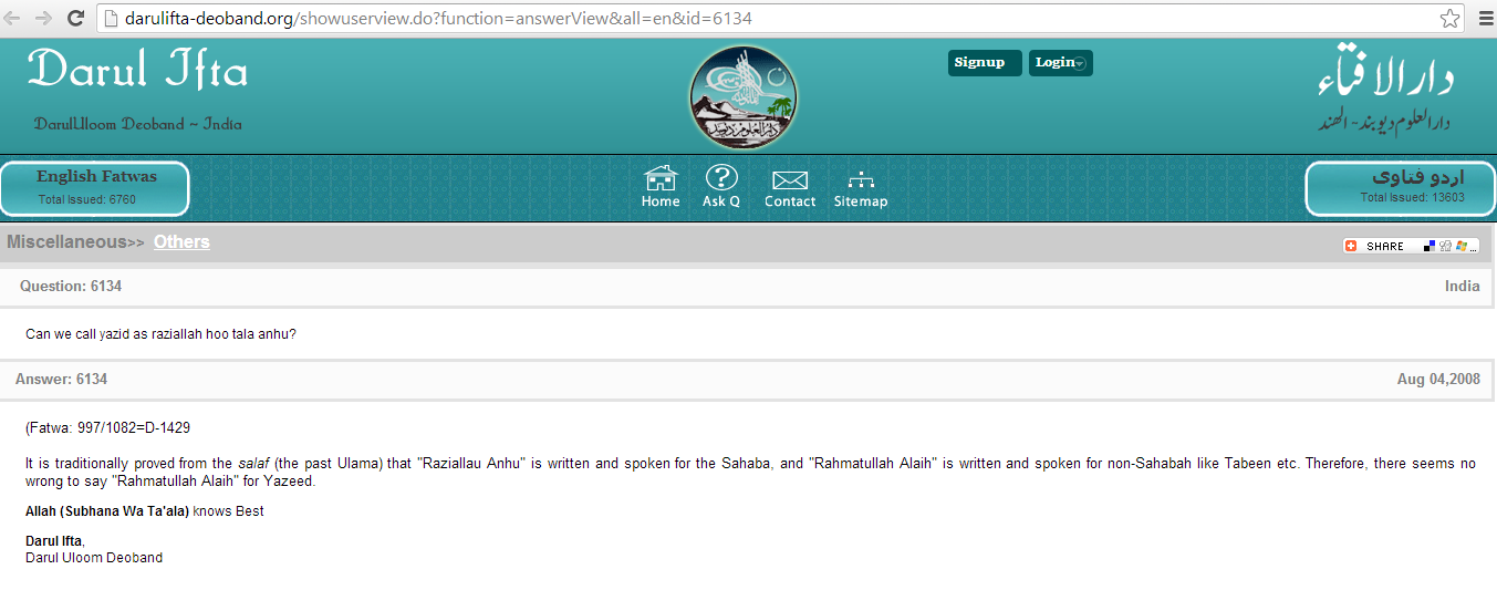In Praise Of Hazrat Yazid Ibn Muawiya By Deobandi And