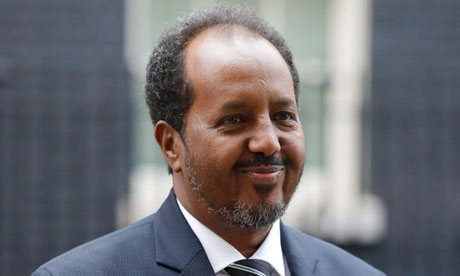 The Somali president, Hassan Sheikh Mohamud, in Downing Street. William Hague raised the rape case with him on his visit to the UK