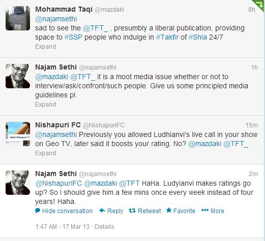 Najam sethi response to Taqi