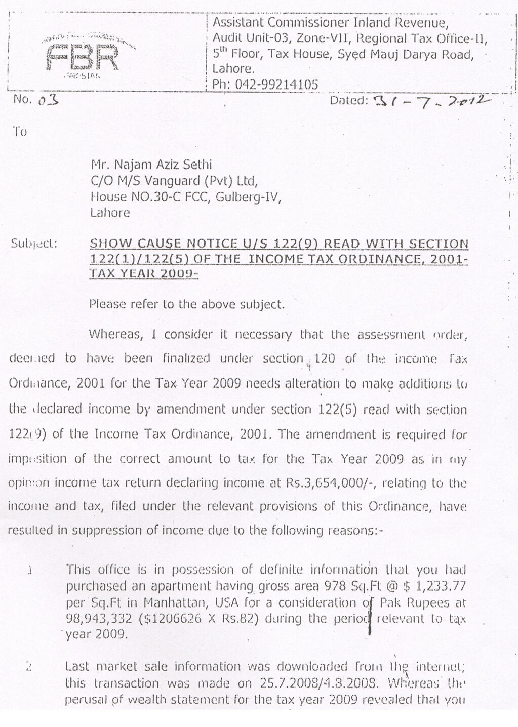 Rs 20 million tax notice by FBR to Caretaker Chief Minister Punjab