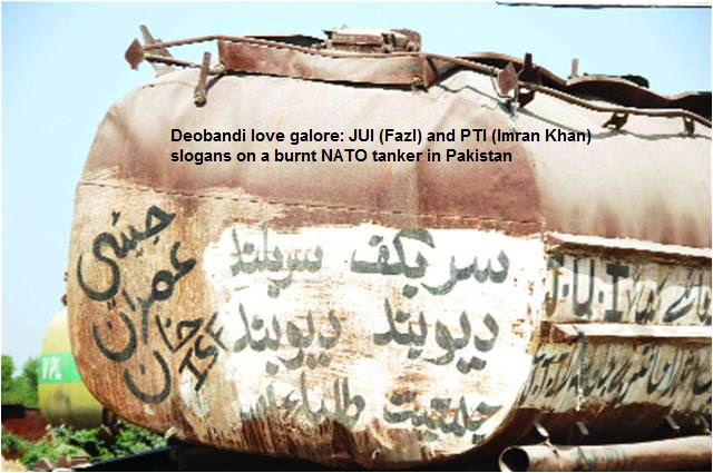 JUI and PTI slogans on a burnt NATO tanker