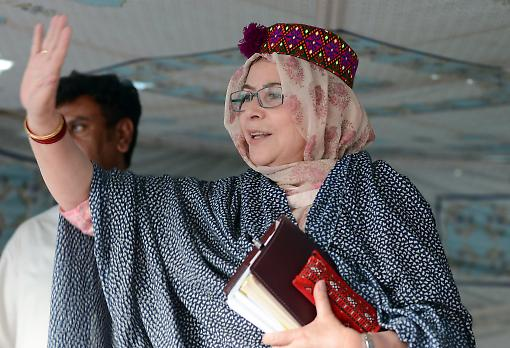 National Assembly candidate Ruquiya Hashmi at an election campaign meeting in Quetta. Photograph: Getty Images.