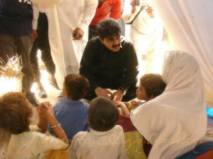 Shahbaz meeting with kids in Balakot after the earthquake in 2005