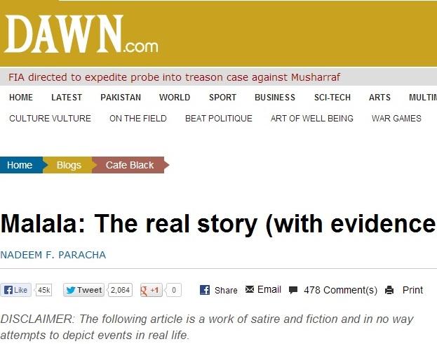 Dawn disclaimer on NFP Malala