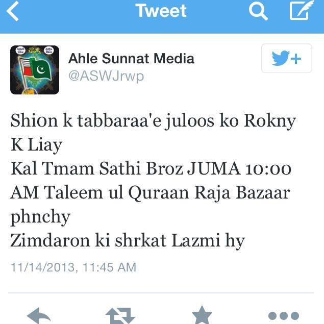 In this tweet Deobandi ASWJ is planning the voilence