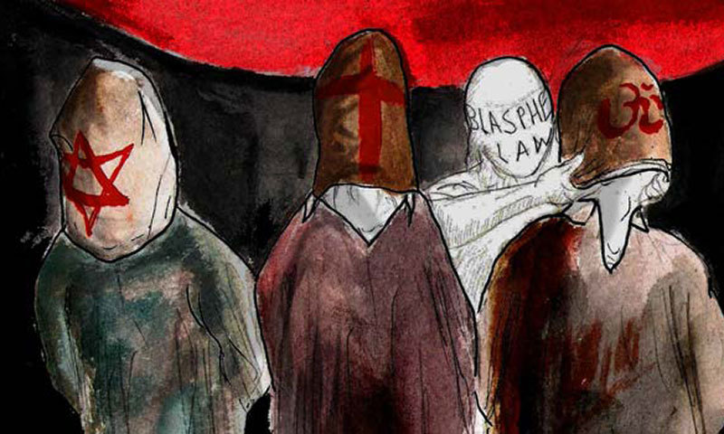 A teenager walked into a police station and shot dead a 65-year-old man from Ahmadi community in Sharaqpur village Friday. – Illustration by Faraz Aamer Khan/Dawn.com