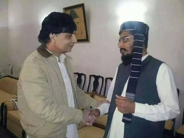 This is a picture of Pakistan's current Interior Minister, Chaudhary Nisar Ali Khan's friendly handshake with Muawiya Tariq, a high ranking leader of the banned ASWJ-LEJ-TTP