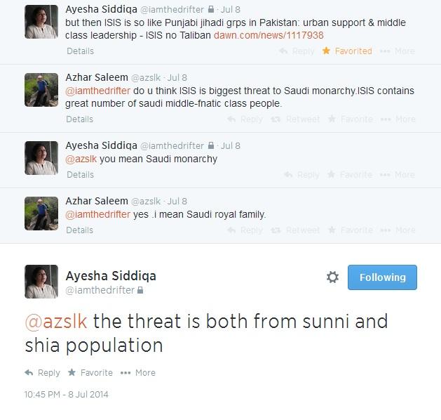 Ayesha Siddiqa ISIS