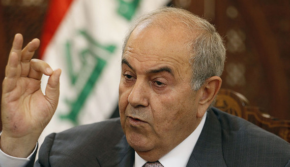 Former Iraqi PM Ayad Allawi speaks during an interview with Reuters in Baghdad