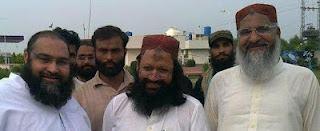 Malik Ishaq with former comrades Tahir Ashrafi and Ahmad Ludhyanvi