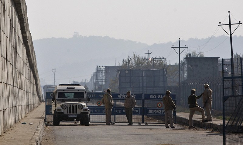 Indian security forces set up a security road barrier outside the airforce base in Pathankot - 430 km from Delhi. Image and caption courtesy of AP