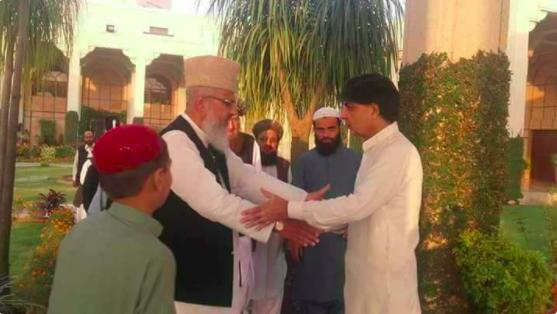 Federal Interior Minister Choudry Nisar embraces Takfiri Deobandi leader of ASWJ/LEJ Ahmed Ludhanvi